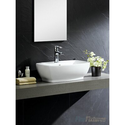 Modern Vitreous Rectangular Vessel Bathroom Sink with Overflow