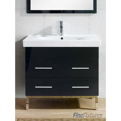 Fashion 33.5 Single Vanity Set Base Finish: Black
