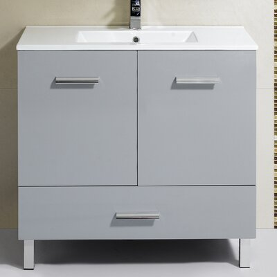 Kasen 35 Single Vanity Set Base Finish: Gray