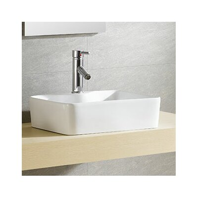Modern Vitreous Concave Square Vessel Bathroom Sink with Overflow