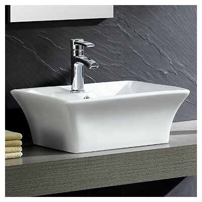 Modern Square Vessel Bathroom Sink with Overflow