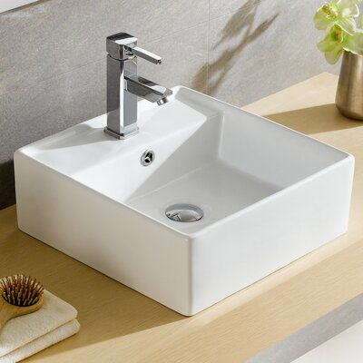 Modern Ceramic Square Vessel Bathroom Sink with Overflow