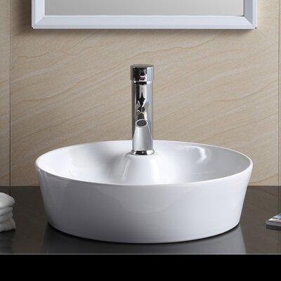 Modern Vitreous China Circular Vessel Bathroom Sink