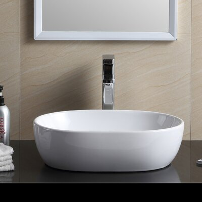 Modern Vitreous China Oval Vessel Bathroom Sink
