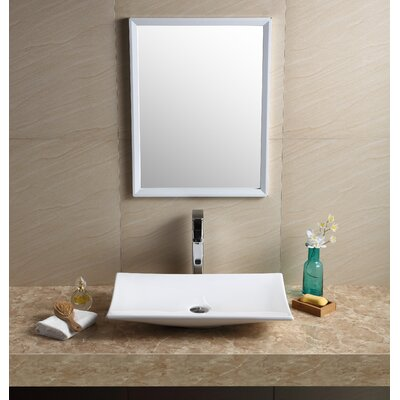 Modern Vitreous China Rectangular Vessel Bathroom Sink