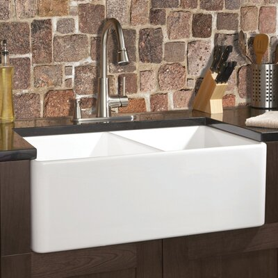 Fireclay 32 x 20 Butler Reverse Apron Double Kitchen Sink