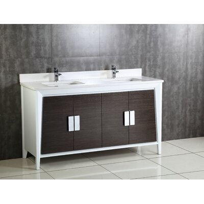 Imperial  II 60 Double Bathroom Vanity Set Base Finish: White /Gray