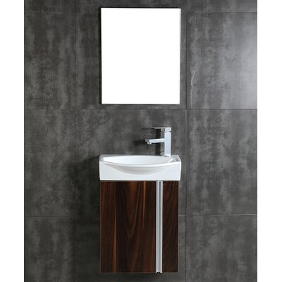 Compacto 16.34 Single Bathroom Vanity Set with Mirror Base Finish: Black Walnut