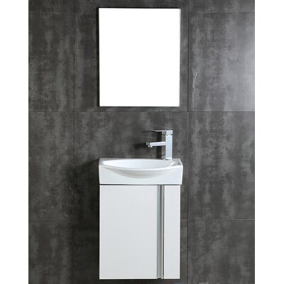 Compacto 16.34 Single Bathroom Vanity Set with Mirror Base Finish: White