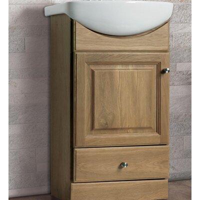 Petite 16 Single Bathroom Vanity Set Base Finish: Oak