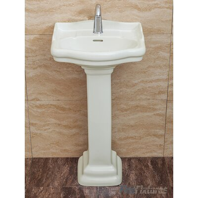 Roosevelt Vitreous China 19 Pedestal Bathroom Sink with Overflow Sink Finish: Biscuit