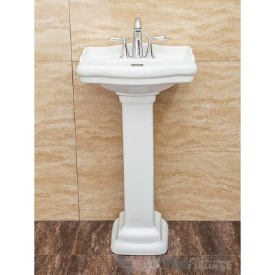 Roosevelt Vitreous China 19 Pedestal Bathroom Sink with Overflow Sink Finish: White
