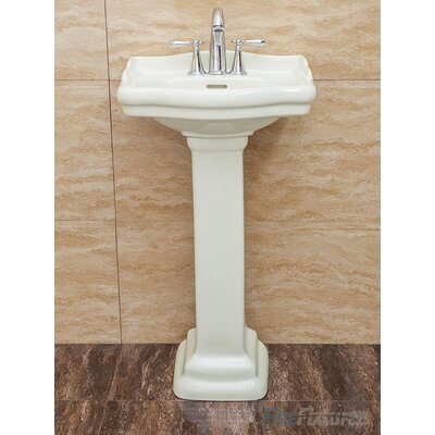 Roosevelt Pedestal Bathroom Sink with Overflow Sink Finish: Biscuit