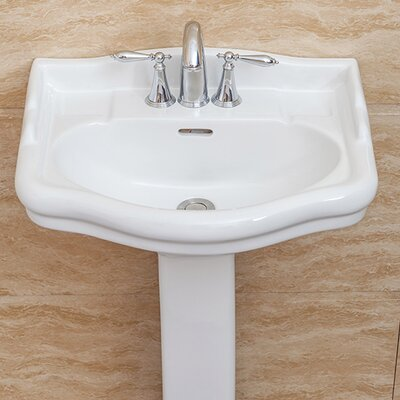 Roosevelt 22 Pedestal Bathroom Sink with Overflow Sink Finish: White, Faucet Mount: 8