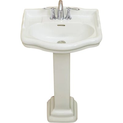 Roosevelt Vitreous China 22 Pedestal Bathroom Sink with Overflow Sink Finish: Biscuit, Faucet Mount: 4