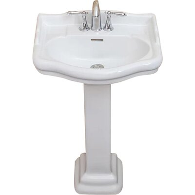 Roosevelt Vitreous China 22 Pedestal Bathroom Sink with Overflow Sink Finish: White, Faucet Mount: 4