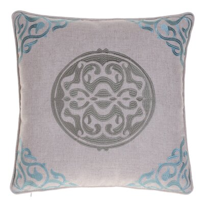 Embroidered Medallion Throw Pillow Color: Harbor/Grass
