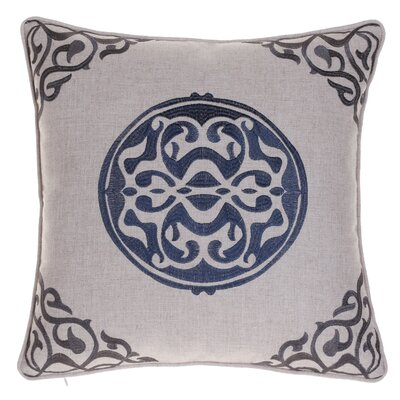 Bannister Embroidered Medallion Throw Pillow Color: Indigo/Iron