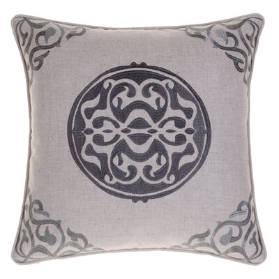 Embroidered Medallion Throw Pillow Color: Iron/Steel