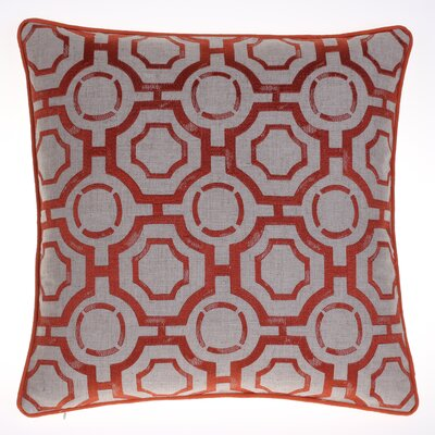 Embroidered Distressed Geometric Throw Pillow Color: Spice