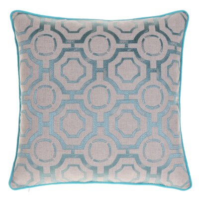 Embroidered Distressed Geometric Throw Pillow Color: Harbor