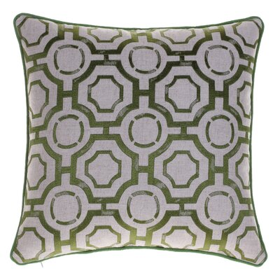 Braga Embroidered Distressed Geometric Throw Pillow Color: Moss