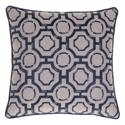 Embroidered Distressed Geometric Throw Pillow Color: Indigo