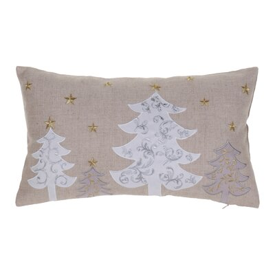 White Christmas Trees Lumbar Pillow