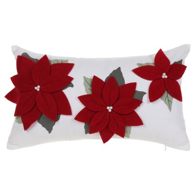 Three Poinsettia Red Cotton Lumbar Pillow