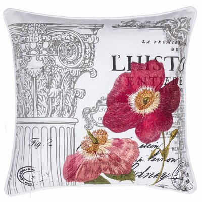 Royal Gardens Embroidered Cotton Throw Pillow