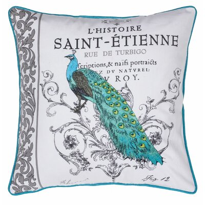 Peacock Embroidered Cotton Throw Pillow