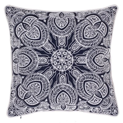 Embroidered Cotton Throw Pillow Color: Indigo