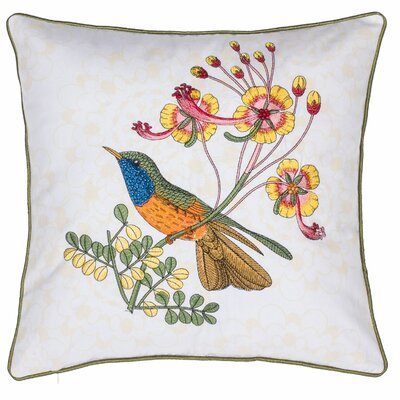Embroidered Rio Bird Cotton Throw Pillow