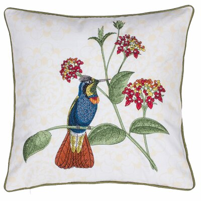 Embroidered Tiki Bird Cotton Throw Pillow