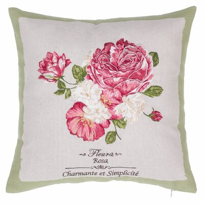 Rose Embroidered Throw Pillow