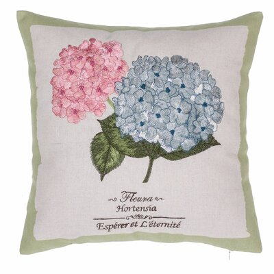 Hydrangea Embroidered Throw Pillow
