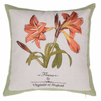 Tiger Lily Embroidered Throw Pillow