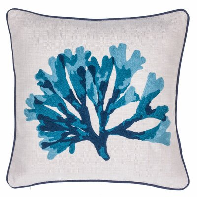 Rizokarpaso Coral Crewel Stitch Throw Pillow