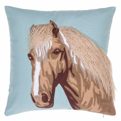 Horse Crewel Stitch Cotton Throw Pillow