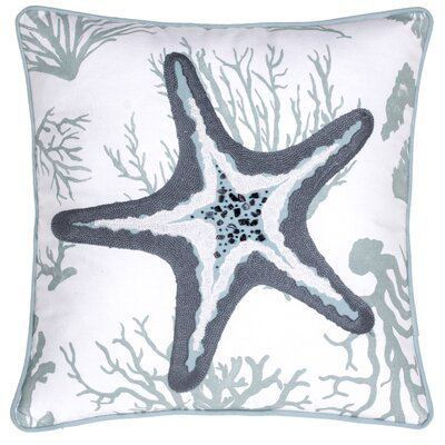 Starfish Crewel Stitch Cotton Throw Pillow