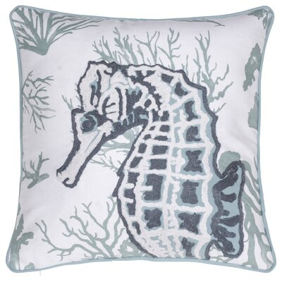 Seahorse Crewel Stitch Cotton Throw Pillow
