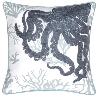 Octopus Crewel Stitch Cotton Throw Pillow