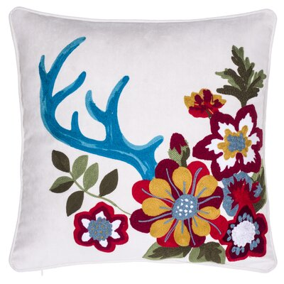 Embroidered Floral Throw Pillow