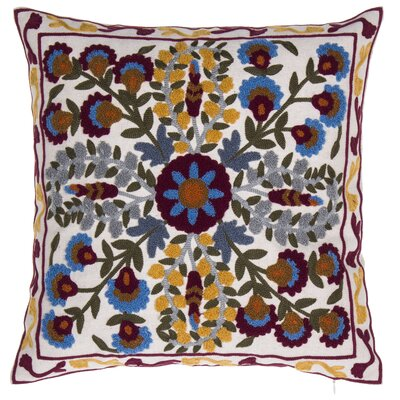 English Meadow Embroidered Throw Pillow
