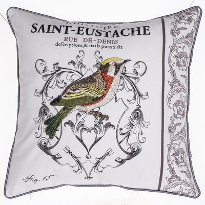 Magpie Embroidered Cotton Throw Pillow