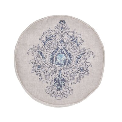 Royal Embroidered Round Pillow Color: Harbor/Indigo