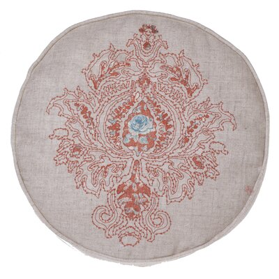 Royal Embroidered Round Pillow Color: Spice/Harbor
