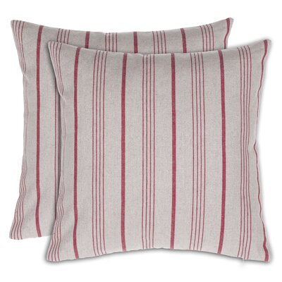 Ashmoore Stripe Throw Pillow Color: Red