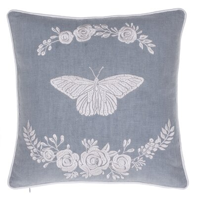 Blooming Butterfly Embroidered Throw Pillow