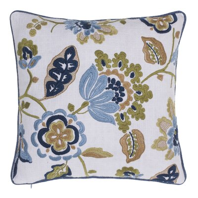 Climbing Flowers Embroidered Throw Pillow